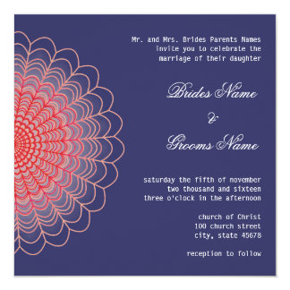 Red Floral Lace on Aquamarine Blue 13 Cm X 13 Cm Square Invitation Card