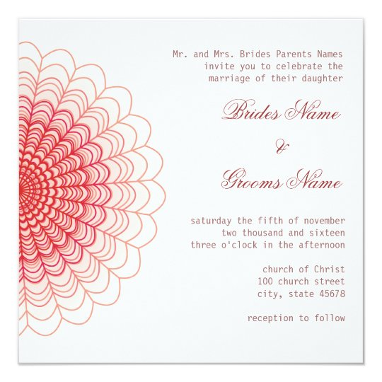 Red Floral Lace on White Card