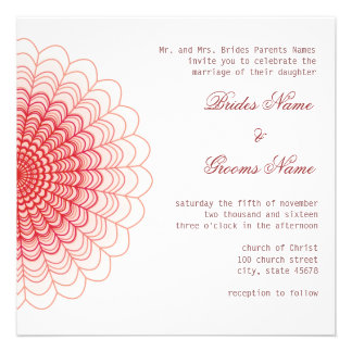 Red Floral Lace on White Custom Invitations