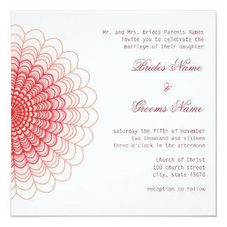 Red Floral Lace on White 13 Cm X 13 Cm Square Invitation Card