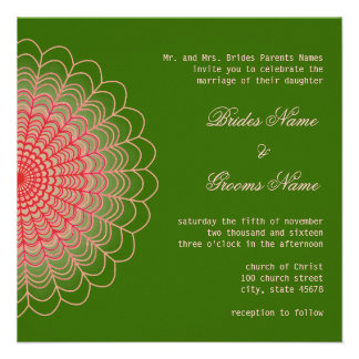 Red Floral Lace on Wood Green Custom Invitations