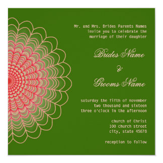 Red Floral Lace on Wood Green 13 Cm X 13 Cm Square Invitation Card