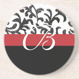 Red Floral Monogram Drink Coaster