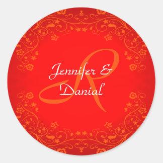 Red Floral Monogram Wedding Envelope Seal Stickers