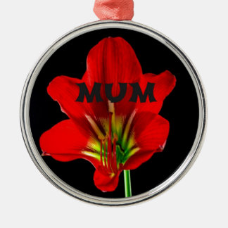 Red Floral Mum Christmas Ornament