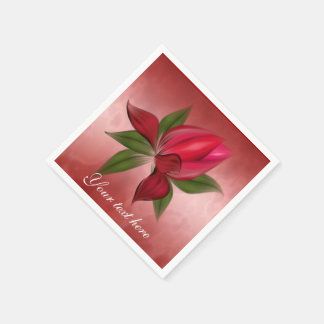 Red Floral on Red Disposable Serviette