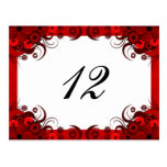 Red Floral on White Reception Table Number Cards Postcard