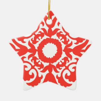 Red Floral Ornate Flourish Embellishment Pattern Ceramic Star Decoration