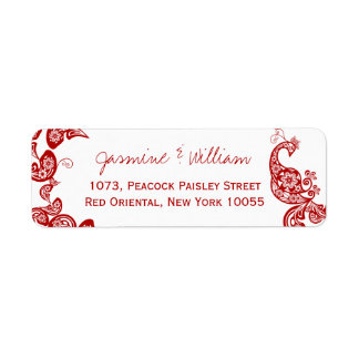 Red Floral Paisley Peacock Elegant Chic Weddding
