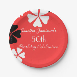 Red Floral Paper Plates, 50th Birthday Party Paper Plate