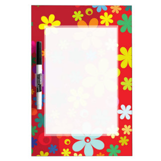 RED FLORAL PATTERN  DRYERASEBOARD, HAPPY  FLOWERS DRY ERASE WHITE BOARD