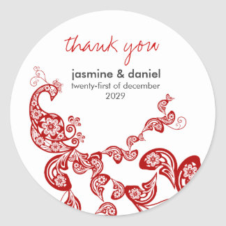 Red Floral Peacock Custom Wedding Gift Sticker