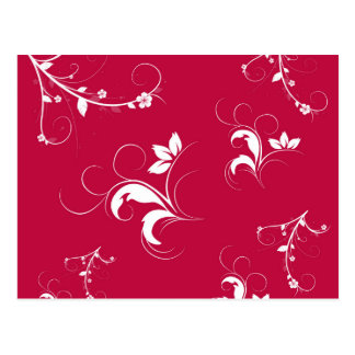 Red floral postcard