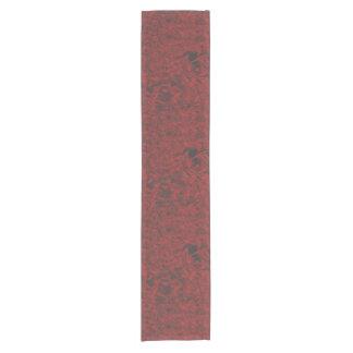 Red Floral Print Short Table Runner