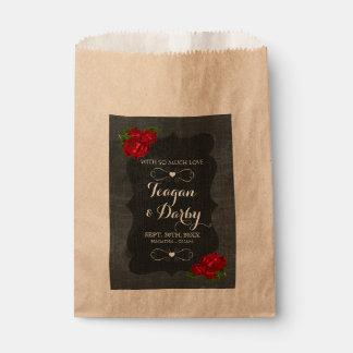 Red Floral Roses Wood Gothic Wedding Favor Bag