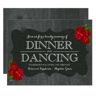 Red Floral Roses Wood Gothic Wedding Reception Card