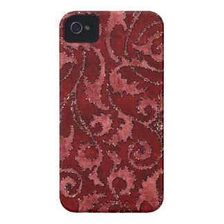 Red Floral Sequin Glitter Velvet Look Case iPhone 4 Case-Mate Case