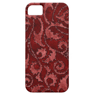 Red Floral Sequin Glitter Velvet Look Case iPhone 5 Covers