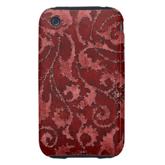 Red Floral Sequin Glitter Velvet Look Case Tough iPhone 3 Cases