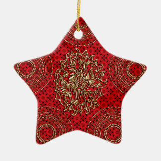 Red floral Star with Metallic Gold Medallion Ceramic Star Decoration
