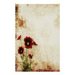 Red Floral Stationery
