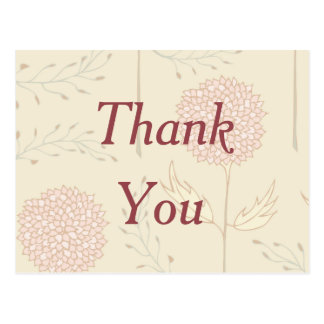Red Floral Thank You Postcard