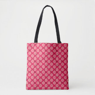 red floral tote bag