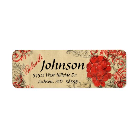 Red Floral Vintage Return Address Label