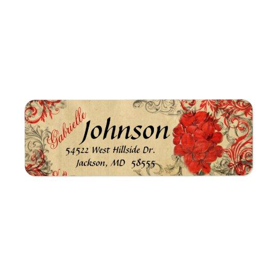 Red Floral Vintage Return Address Label