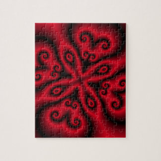 Red Floral w/Swirls Puzzle