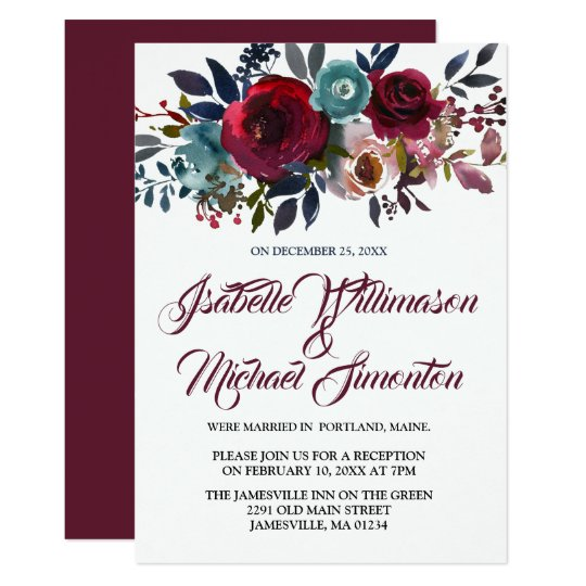 Red Floral Watercolor Elopement Reception Card
