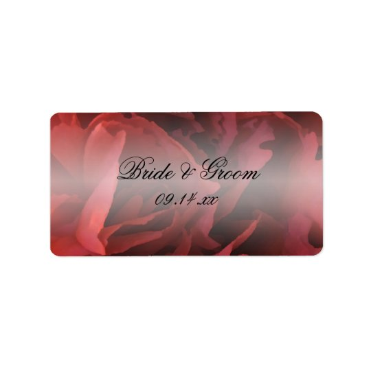 Red Floral Wedding Favour Tags Address Label