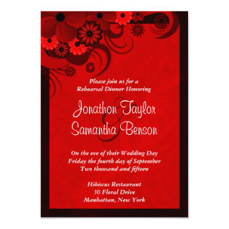 Red Floral Wedding Rehearsal Dinner Invitations