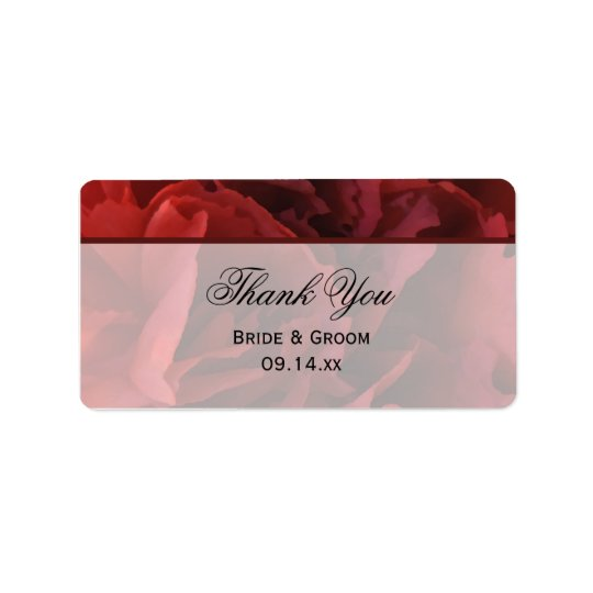 Red Floral Wedding Thank You Favour Tags Address Label