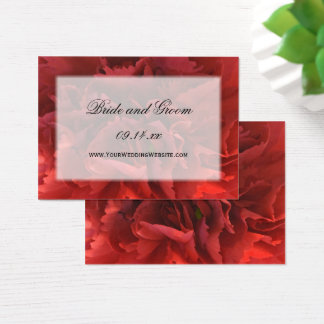 Red Floral Wedding Website Business Card