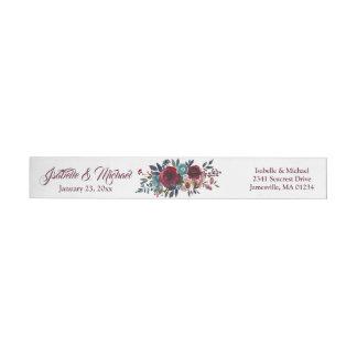 Red Floral Wedding Wraparound Return Address Label