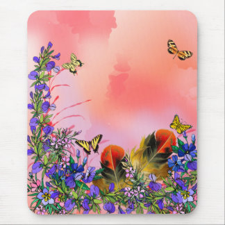 Red floral with butterflies mouse pad