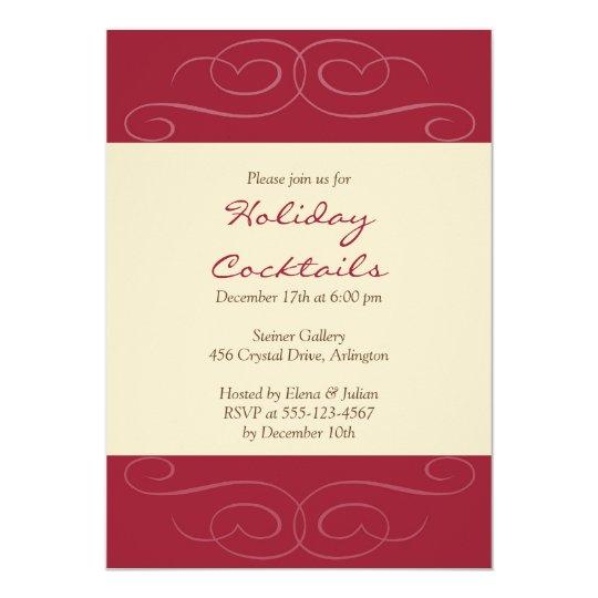 Red flourish Christmas holiday cocktail invitation