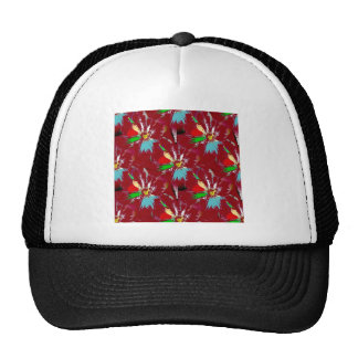 Red Flower Abstract Cap