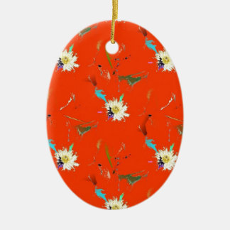 Red Flower Abstract Christmas Ornament