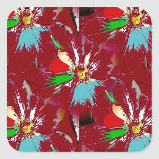 Red Flower Abstract Square Sticker