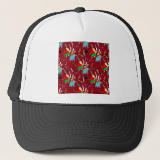 Red Flower Abstract Trucker Hat
