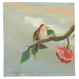 red flower and a little bird napkin