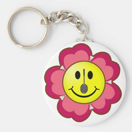 Red Flower Badminton Smiley Basic Round Button Key Ring