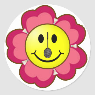Red Flower Badminton Smiley Stickers