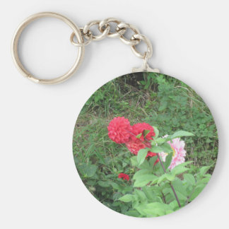 red flower basic round button key ring