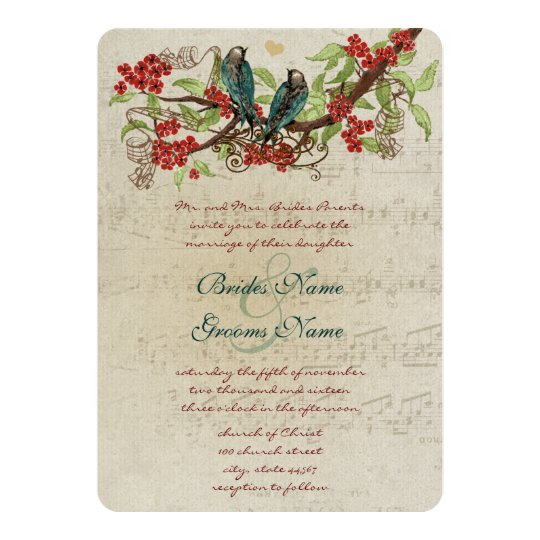 Red Flower Branch Vintage Birds Wedding Invite