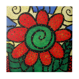 Red Flower Ceramic Tile