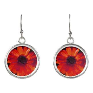Red Flower Drop Earrings