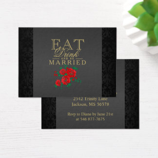 Red Flower Eat, Drink & Be Married - Reception Business Card